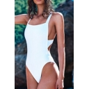 Summer's Crisscross Open Back Plain One Piece Swimwear
