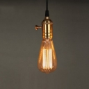 Industrial Edison Bulb Style Pendant Light Fixture with Polished Brass Socket