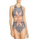 Hot Fashion Geometric Leaf Printed Cut Out Waist One Piece Swimwear