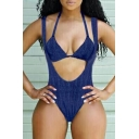 New Arrival Stylish Plain Plunge Neck Sleeveless One Piece Swimwear with Halter Neck Bikini Top