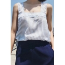 Summer's Classic Striped Printed Sleeveless Fresh Blue Loose Blouse