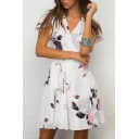 Hot Fashion Floral Printed Wrap Floral Printed Cap Sleeve Mini Wrap Dress