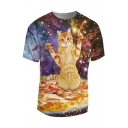 Hot Fashion 3D Galaxy Cartoon Cat Pattern Round Neck Short Sleeve Tee