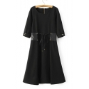 Round Neck 3/4 Sleeve Tied Waist Plain Fashion Midi A-Line Dress