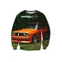 Orange Car Print Round Neck Long Sleeve Pullover Sweatshirt