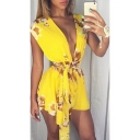 Summer's Hot Popular Sexy Plunge Neck Floral Printed Tied Waist Chiffon Rompers
