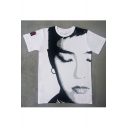 Hip Hop Style Fashion Sketch Face Pattern Round Neck Short Sleeve Loose T-Shirt