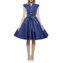 Hot Fashion Vintage Cap Sleeve Lapel V Neck Tied Waist Midi Oversize Flared Dress