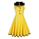 Hot Fashion Vintage Sleeveless Buttons Down Color Block Midi Fit Flared Dress
