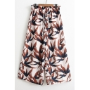 Summer's Chic Leaves Printed Elastic Drawstring Waist Loose Wide Legs Culottes