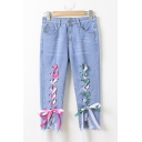 Summer's New Arrival Lace-Up Bow Tie Fringe Hem Chic Capris Jeans