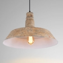 Industrial Single Pendant Light Edison Retro with Sand Pattern Shade in White