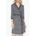 Black&White Plaids Printed V Neck 3/4 Sleeve Chic Mini Wrap Dress