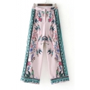 Chic Floral Birds Pattern High Waist Loose Wide Legs Holiday Pants Culottes