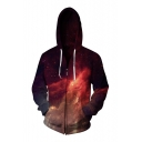 Hot Fashion 3D Galaxy Pattern Long Sleeve Zip Up Hoodie with Pockets