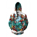 3D Wolf Pattern Long Sleeve Leisure Zip Up Hoodie for Couple
