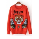 New Sequined Future Letter Embroidery Tiger Pattern Round Neck Pullover Sweater