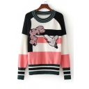Fall Winter Embroidery Floral Crane Pattern Color Block Pullover Sweater