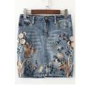 Chic Floral Birds Embroidered Mini Bodycon Summer's Denim Skirt
