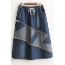 Casual Leisure Elastic Drawstring Waist Simple Patchwork Midi A-Line Denim Skirt
