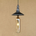 Industrial Beer Bottle Pendant Light with Clear/Blue/Amber/Gray Glass Cone Shade