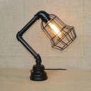 Industrial Pipe Table Lamp with Black Metal Cage, 15.7'' Height