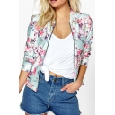 New Arrival Chic Floral Pattern Zip Up Long Sleeve Baseball Jacket