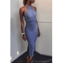 Women's Halter Sleeveless Crisscross Back Split Sides Plain Midi Bodycon Dress