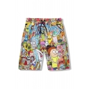 3D Cartoon Pattern Elastic Drawstring Waist Casual Leisure Sports Shorts