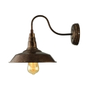 Industrial Gooseneck Barn Wall Sconce in Rust Single Light Wall Mount Fixture for Warehouse Porch Balcony