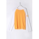 Chic Color Block Long Sleeve Round Neck Casual Loose Comfort T-Shirt