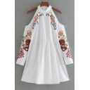 Chic Floral Embroidered Round Neck Cold Shoulder Long Sleeve Swing Mini Dress