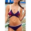 New Arrival Fashion Color Block Sexy Plunge Neck Bikini Swimwear