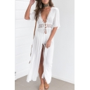 Hot Fashion Plunge Neck Half Sleeve Lace Hollow Out Plain Longline Cover Up Swimwear