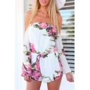 Summer's Hot Fashion Floral Printed Off The Shoulder Long Sleeve Rompers