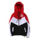 New Fashion Color Block Long Sleeve Casual Unisex Zip Up Comfort Hoodie