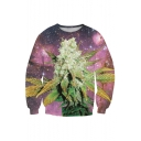 Galaxy And Plant Print Round Neck Long Sleeve Pullover Sweatshirt