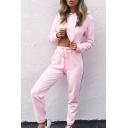 Fashion Cropped Long Sleeve Plain Hoodie with Striped Side Sports Pants