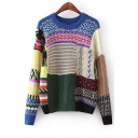 Chic Colorful Color Block Cable Knit Round Neck Long Sleeve Pullover Sweater