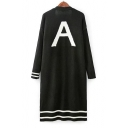 Big Letter A Printed Back Long Sleeve Contrast Striped Longline Cardigan