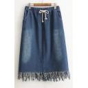 Fresh Drawstring Elastic Waist Tassel Hem Midi A-Line Denim Skirt