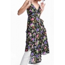 Chic Floral Pattern Spaghetti Straps V Neck Ruffle Hem Asymmetrical Slip Dress