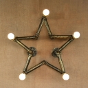 Industrial Pentacle Shaped Wall Sconce in Antique Brass Finish, 5 Lights