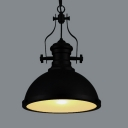 Industrial Style Black Single-Light Pendant in Black with Frosted Glass Diffuser
