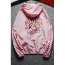 Casual Leisure Outdoor Letter Graffiti Hooded Zip Up Unisex Sun Coat