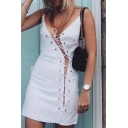 Sexy Grommet Lace-Up Hollow Out Spaghetti Straps Plain Mini Slip Dress