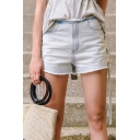 Fashion Lace Up Sides Mid Waist Plain Fringe Hem Denim Shorts