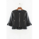 Women's Zip Fly 3/4 Length Sleeve Ruffle Hem Plain PU Coat