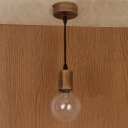 Industrial Retro Pendant Light with Bare Edison Bulb, Brown