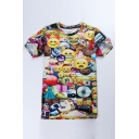 Hot Fashion Funny Cartoon QQ Emoji Printed Round Neck Short Sleeve T-Shirt